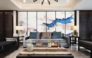 中式风格精致时尚客厅背景墙装修效果图