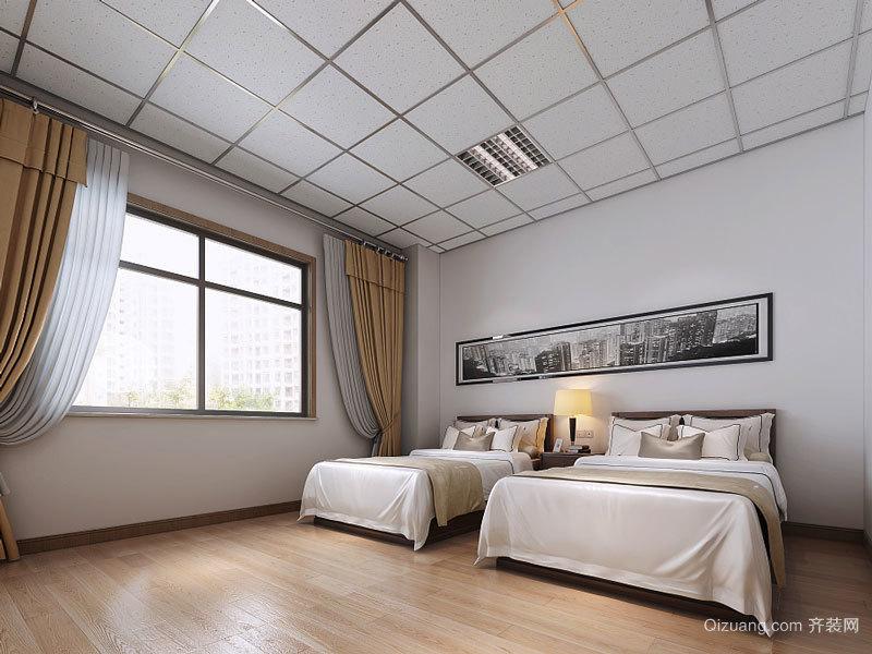 现代简约风格宾馆标准间装修效果图