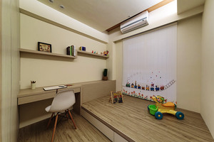 114平米新中式风格三室两厅室内装修效果图
