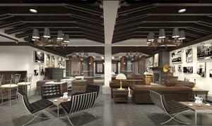 复古时尚精美咖啡厅设计装修效果图