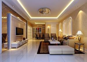 简欧风格温馨舒适客厅设计装修实景图