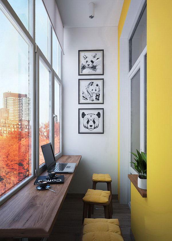 现代简约风格阳台书房设计装修效果图