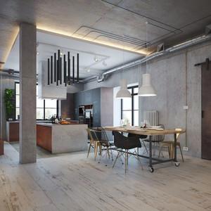 后现代工业风创意餐厅装修效果图大全