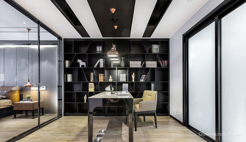 现代风格精致开放式书房设计装修效果图