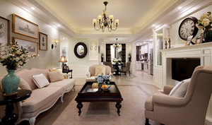 123平米美式风格精致三室两厅室内装修效果图