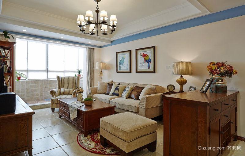 美式田园风格精美两室两厅装修效果图