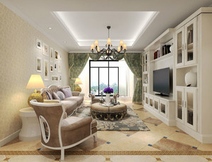 欧式风格精装三室两厅室内设计装修效果图