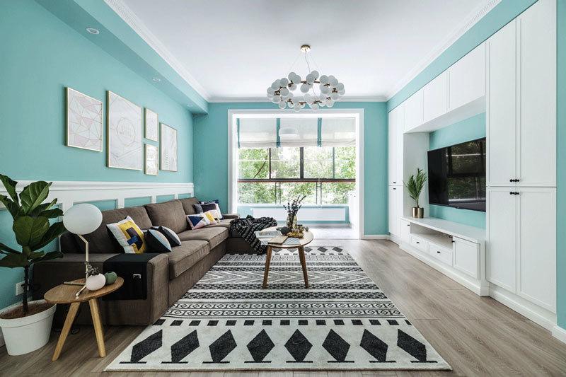清新风格时尚大户型客厅设计装修效果图