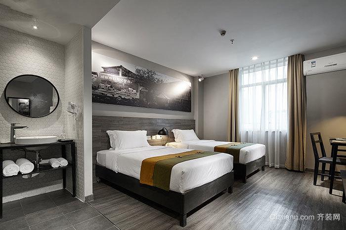 中式风格精致宾馆客房设计装修效果图图片