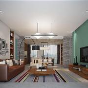 现代风格时尚客厅电视背景墙装修实景图