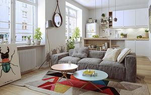 北欧风格简约单身公寓设计装修效果图
