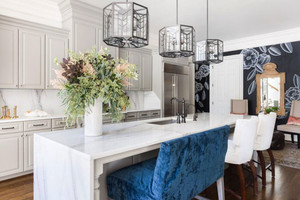 美式风格精致开放式厨房吧台装修效果图