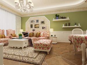 欧式田园风格清新甜美一居室室内装修效果图