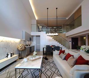 现代简约风格复式楼室内客厅装修效果图
