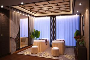 中式风格精致美容院包厢设计装修效果图