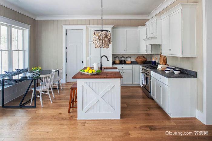 欧式风格精美室内开放式厨房吧台装修效果图