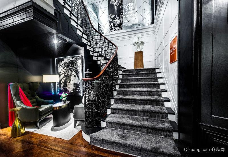 新古典主义风格别墅楼梯设计装修效果图