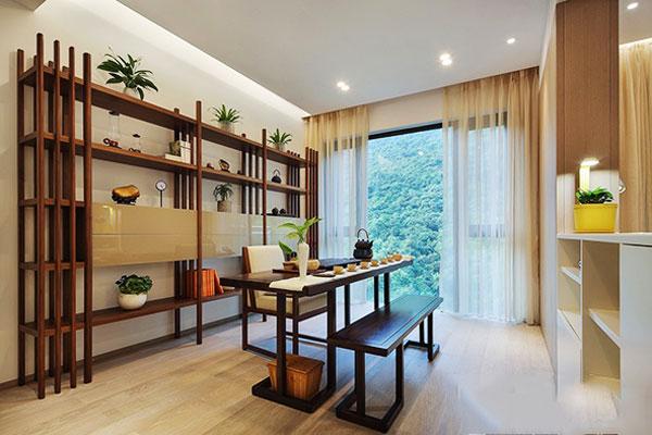 新中式风格精致书房博古架设计装修效果图