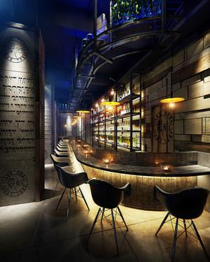 后现代风格精致酒吧吧台设计装修实景图