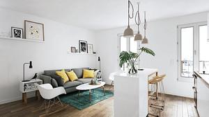 北欧风格简约一居室室内设计装修效果图
