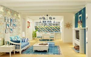 地中海风格简约一居室室内设计装修效果图