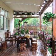 中式风格精致别墅阳台设计装修效果图