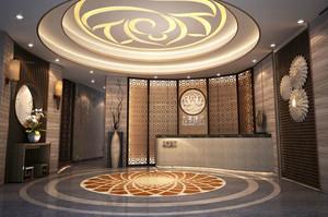 中式风格精致美容院前台装修效果图