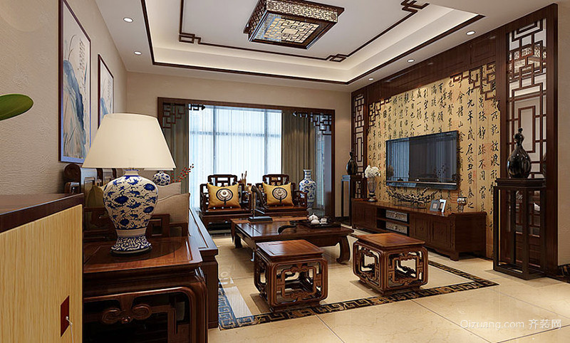 中式风格古典精致复式楼室内设计装修效果图