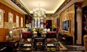 中式风格古典精致两居室室内设计装修效果图