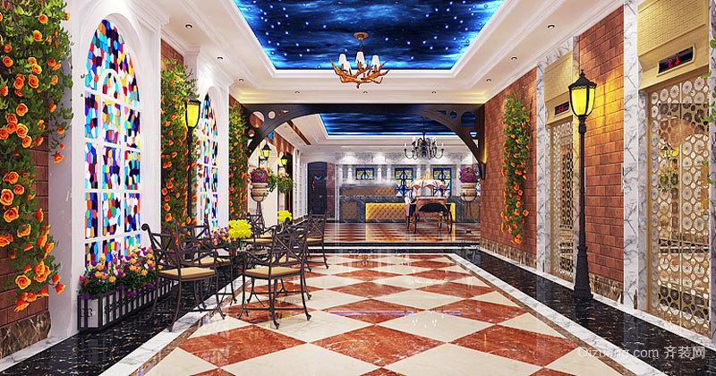98平米复古风格精致酒吧设计装修效果图
