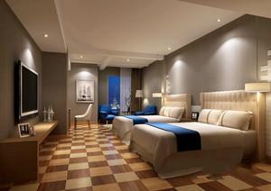 简欧风格精美宾馆标准间设计装修效果图