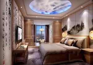 中式风格精致酒店客房设计装修效果图