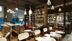 简约风格小型咖啡厅设计装修效果图