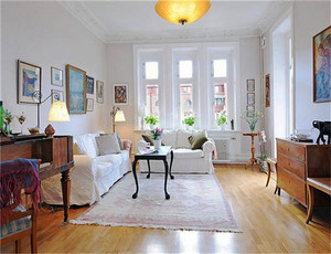 北欧风格自然典雅两室两厅室内装修效果图