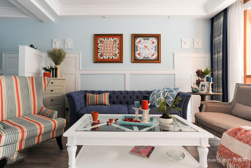 地中海风格清新舒适客厅设计装修图