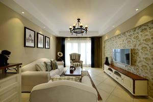 126平米美式风格精致三室两厅装修效果图