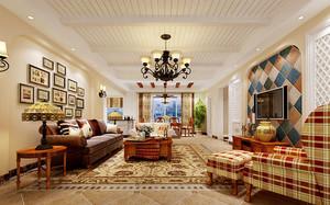 美式田园风格精致大户型室内设计装修效果图