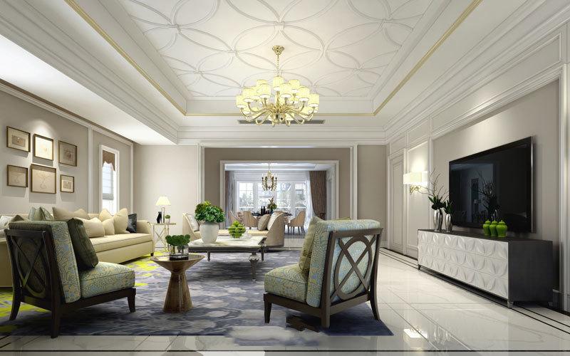 300平米欧式风格精致别墅室内装修效果图