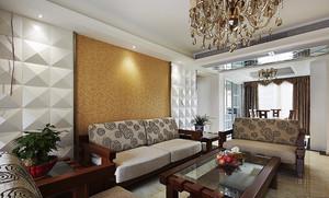 新中式风格精致两室两厅室内设计装修效果图