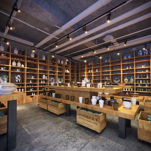 62平米中式风格陶瓷店设计装修效果图