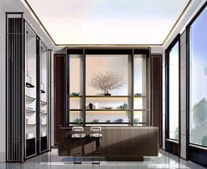 中式风格别墅复古精致书房设计装修效果图