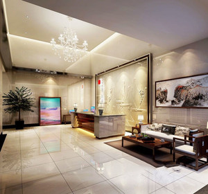 中式风格宾馆大厅设计装修效果图
