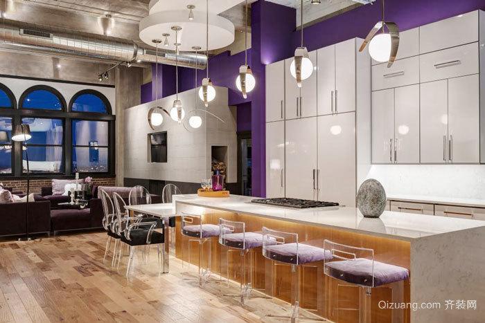现代风格精致开放式厨房吧台设计装修效果图