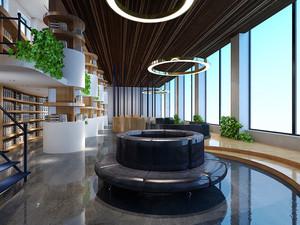 200平米现代风格图书馆设计装修效果图