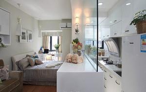 50平米现代简约风格单身公寓装修效果图,暗淡的冷色会令人心情低迷消沉,而明艳的色彩则可以令人精神振奋,心情愉悦。装修中注意色彩搭配。