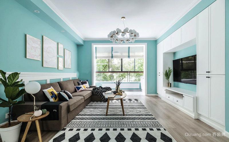 清新风格蓝色清爽客厅设计装修效果图
