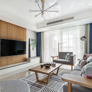 简约风格实木客厅电视背景墙装修效果图