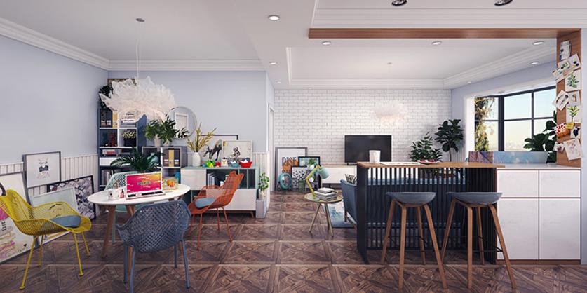 简约风格时尚单身公寓装修效果图