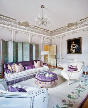 奢华浪漫法式风格客厅设计装修实景图
