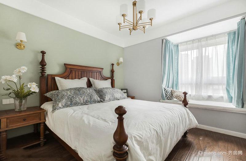 清新简约美式风格卧室飘窗装修图